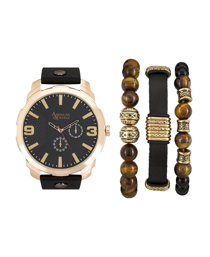 American Exchange - Men's Black/Gold Analog Quartz Watch And Holiday Stackable Gift Set