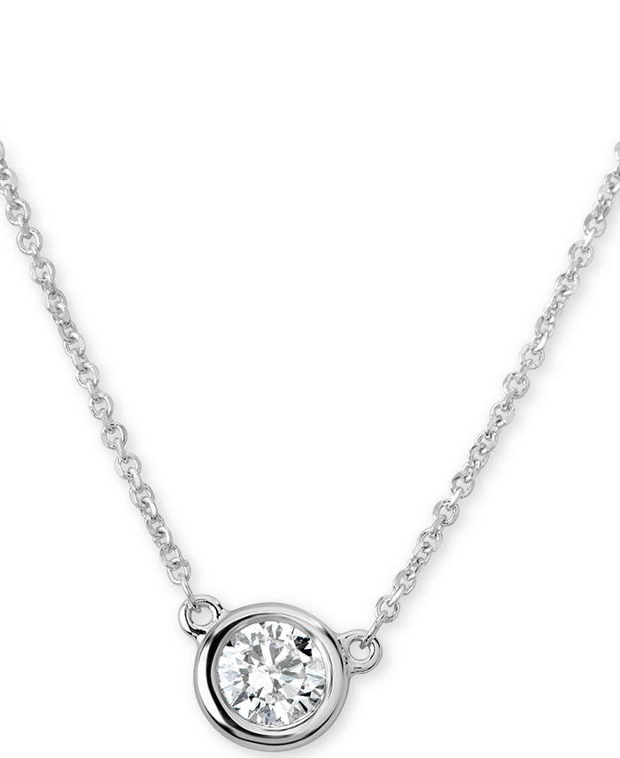 "Macy's - Certified Diamond Bezel Pendant Necklace (3/8 ct. t.w.) in 14k White Gold, 16"" + 2"" extender"