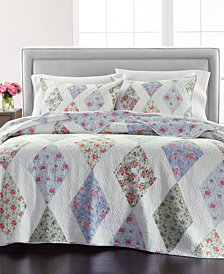 LAST ACT! Martha Stewart Collection Reversible Diamond Floral Patchwork King/Cal King Quilt, Created for Macy's