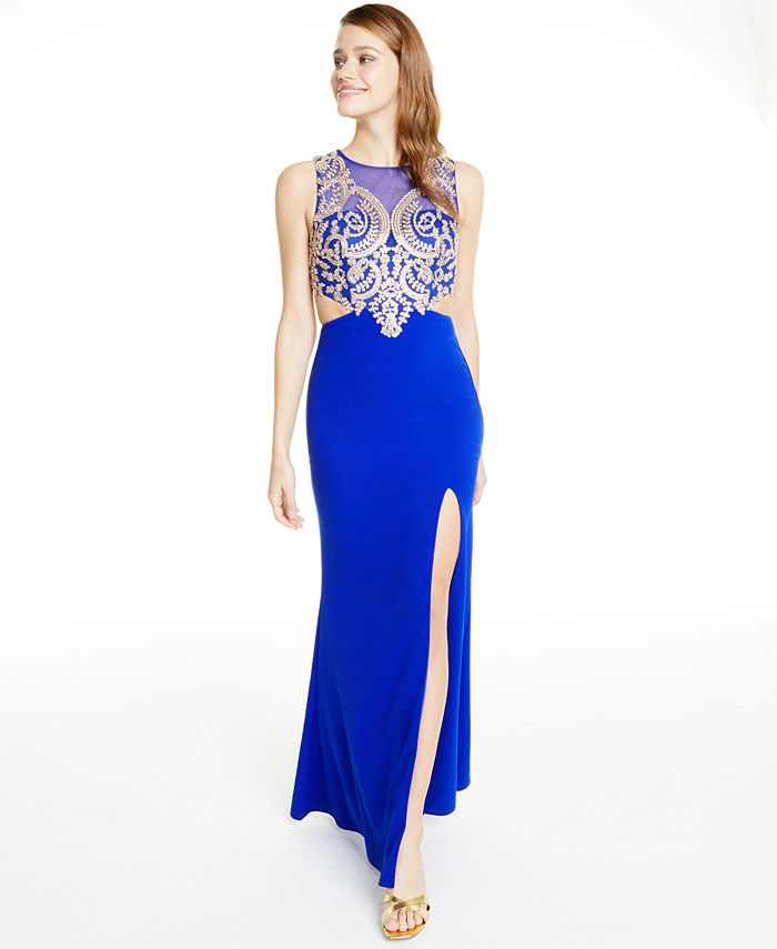 City Studios - Juniors' Embellished Cutout Gown