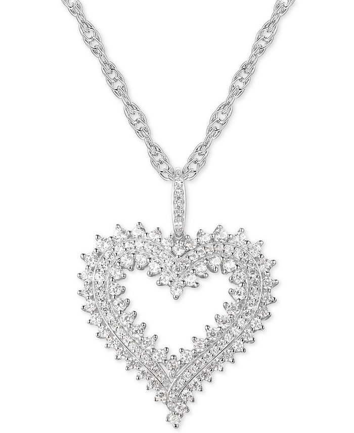 "Macy's - Diamond Heart 18"" Pendant Necklace (1 ct. t.w.) in 10k White Gold"