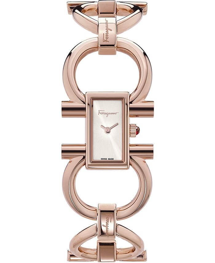 Ferragamo - Women's Swiss Double Gancini Rose Gold Ion-Plated Bracelet Watch 14x24mm