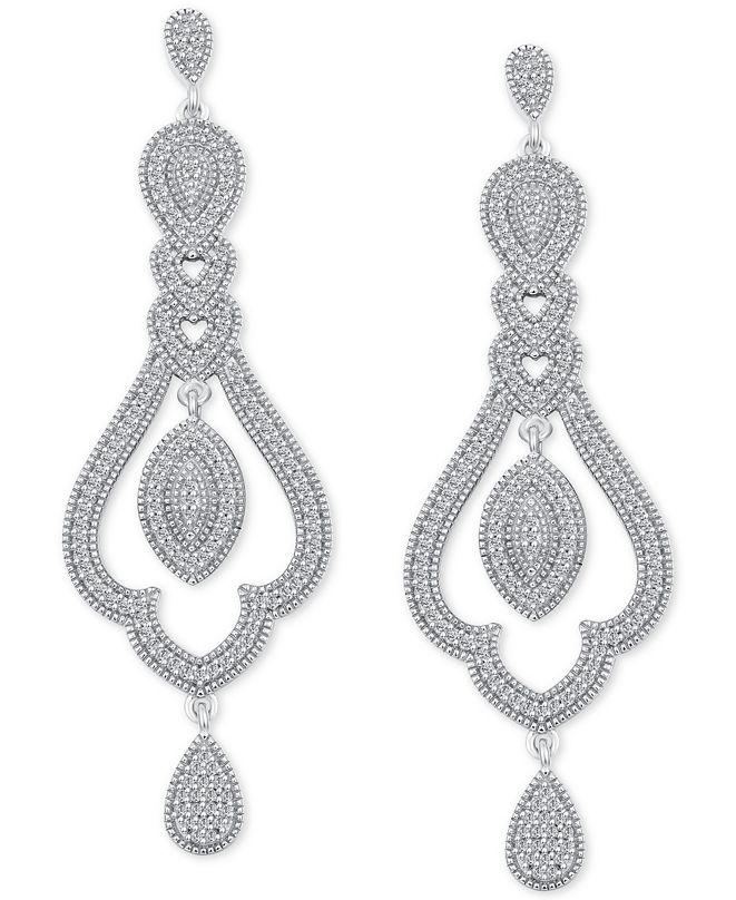 Macy's Diamond Vintage-Inspired Drop Earrings (1/2 ct. t.w.) in Sterling Silver