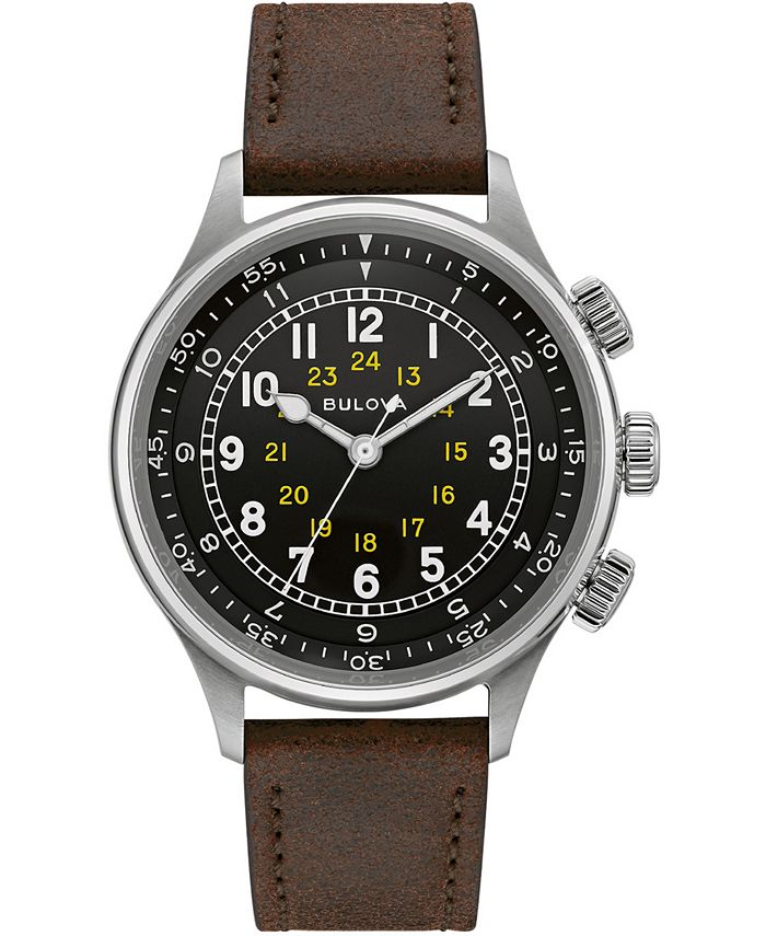 Bulova - Men's Automatic Military Brown Leather Strap Watch 42mm