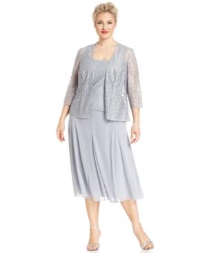 Alex Evenings Plus Size Dress & Jacket, Long-Sleeve Sparkle Lace