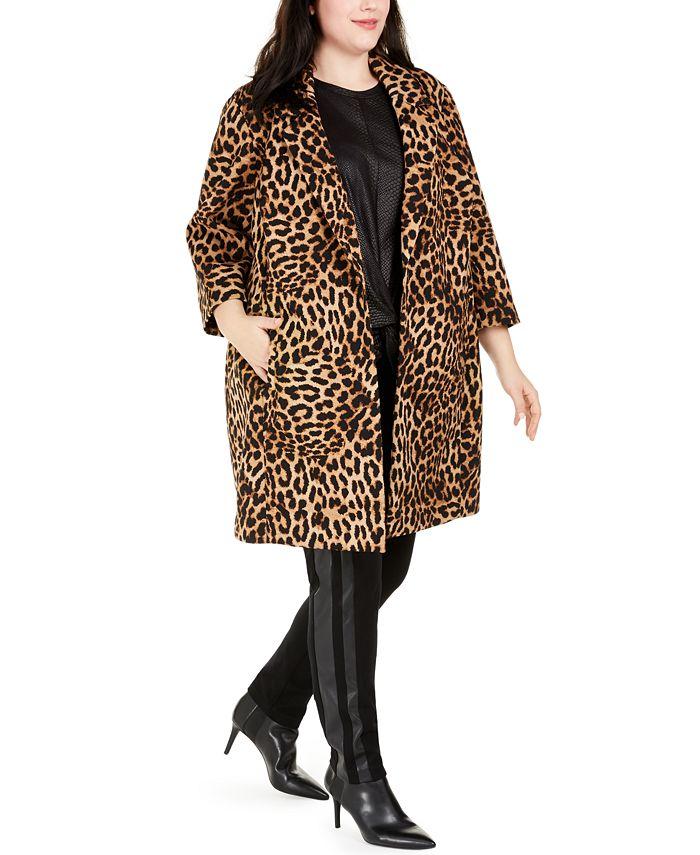 INC International Concepts - Plus Size Leopard-Print Cocoon Coat