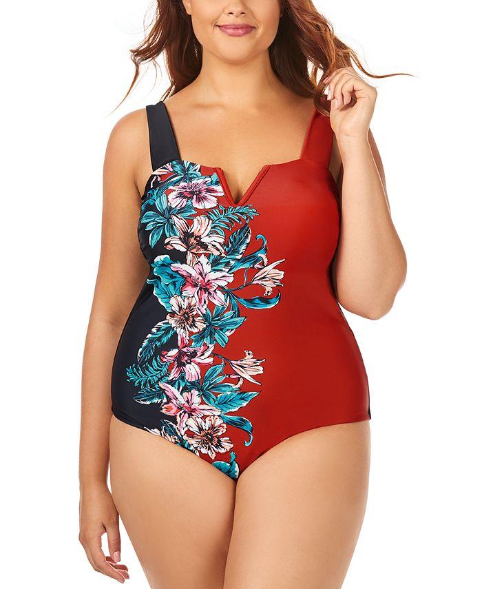 Raisins Curve - Trendy Plus Size Juniors' Printed Rosalie V-Wire One-Piece Swimsuit