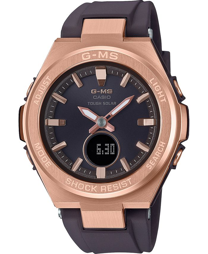 G-Shock - Women's Solar Analog-Digital Brown Resin Strap Watch 38.7mm
