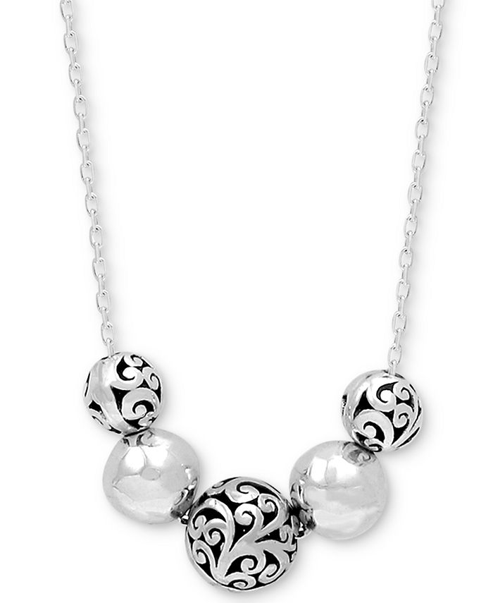 """Lois Hill - Filigree & Polished Bead Statement Necklace in Sterling Silver, 16"""" + 2"""" extender"""