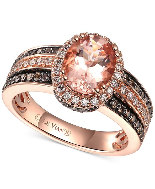 Le Vian Peach Morganite (1-1/3 ct.-t.w.) & Diamond (5/8 ct. t.w.) Ring in 14k Rose Gold