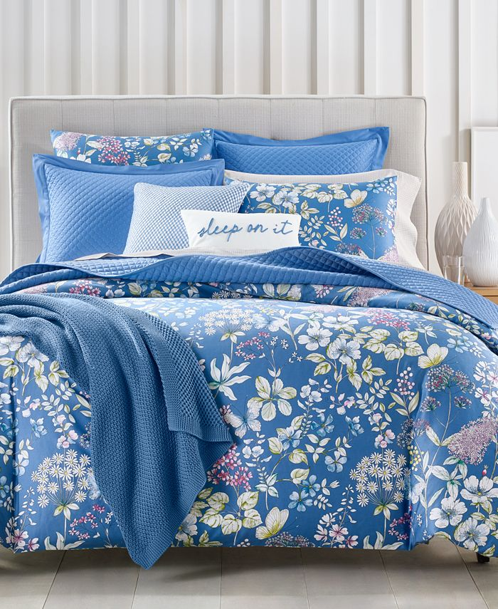 Charter Club - Damask Designs Meadow Cotton 300-Thread Count 3-Pc. Full/Queen Duvet Cover Set
