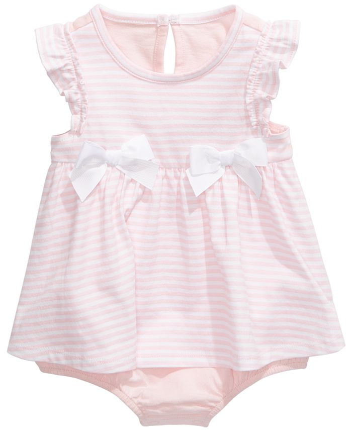 First Impressions - Baby Girls Striped Bow Skirted Romper