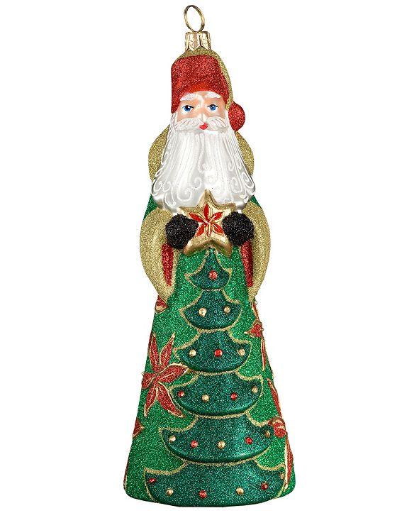 Joy to the World Glitterazzi Poinsettia Santa