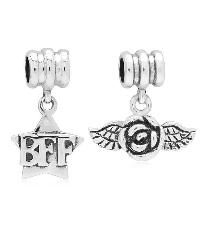 Rhona Sutton - Children's BFF Rose Drop Charms - Set of 2 in Sterling Silver