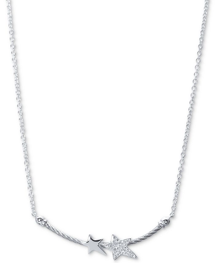 """CHARRIOL - WhiteTopaz Double Star Cable 17-1/2"""" Pendant Necklace (1/10 ct. t.w.) in Sterling Silver & Stainless Steel"""