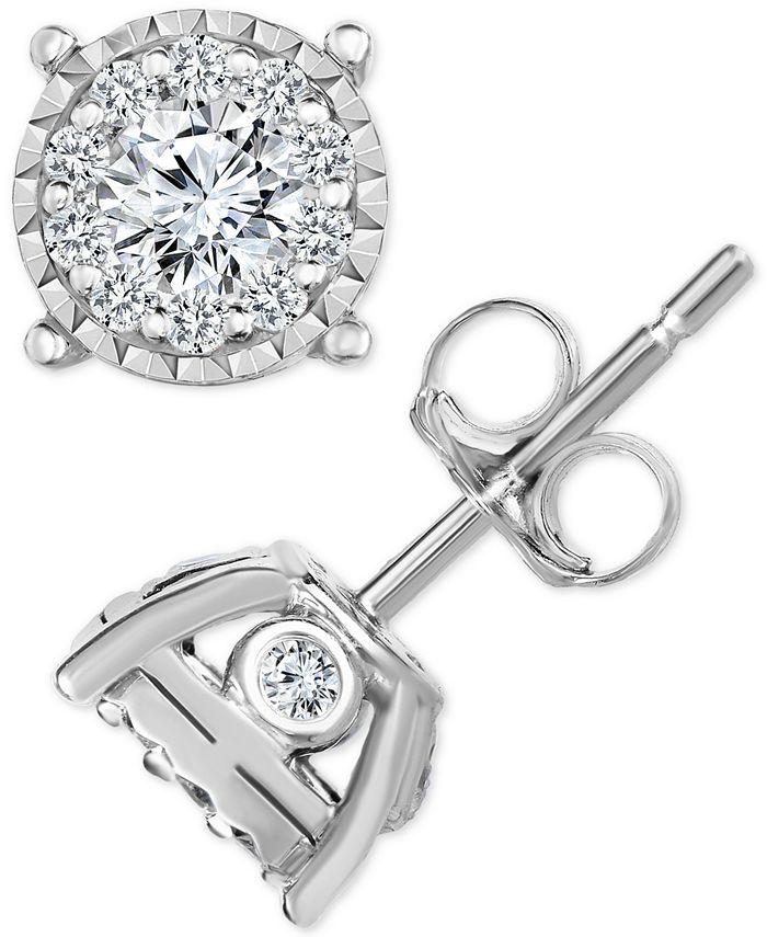 Macy's - Diamond Halo Cluster Stud Earrings (1/2 ct. t.w.) in 14k White Gold