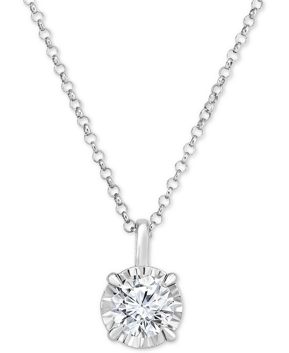 "Macy's Diamond Solitaire 18"" Pendant Necklace (1/2 ct. t.w.) in 14k White Gold"