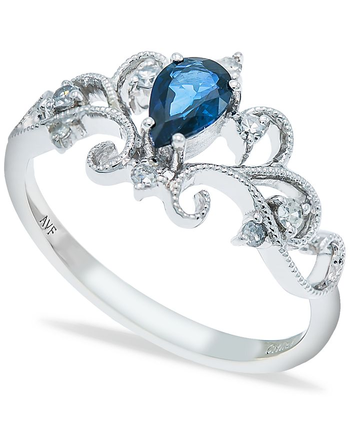 Macy's - Sapphire (1/2 ct. t.w.) and Diamonds (1/8  ct. t.w.) Ring Set in 14k White Gold