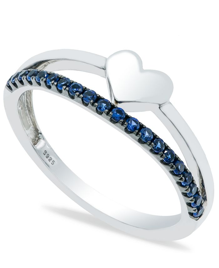 Macy's - Sapphire (1/5 ct. t.w.) Heart Ring in Sterling Silver