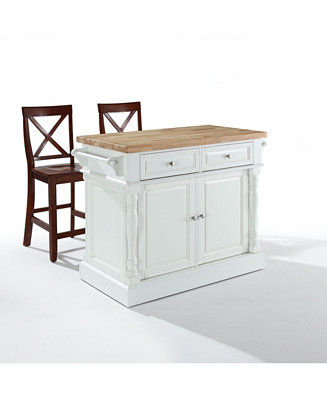 Crosley Oxford Butcher Block Top Kitchen Island Finish With 24 Black X Back Stools Reviews Furniture Macy S