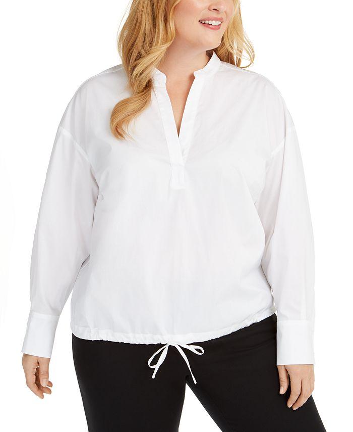Alfani - Plus Size Popover Shirt