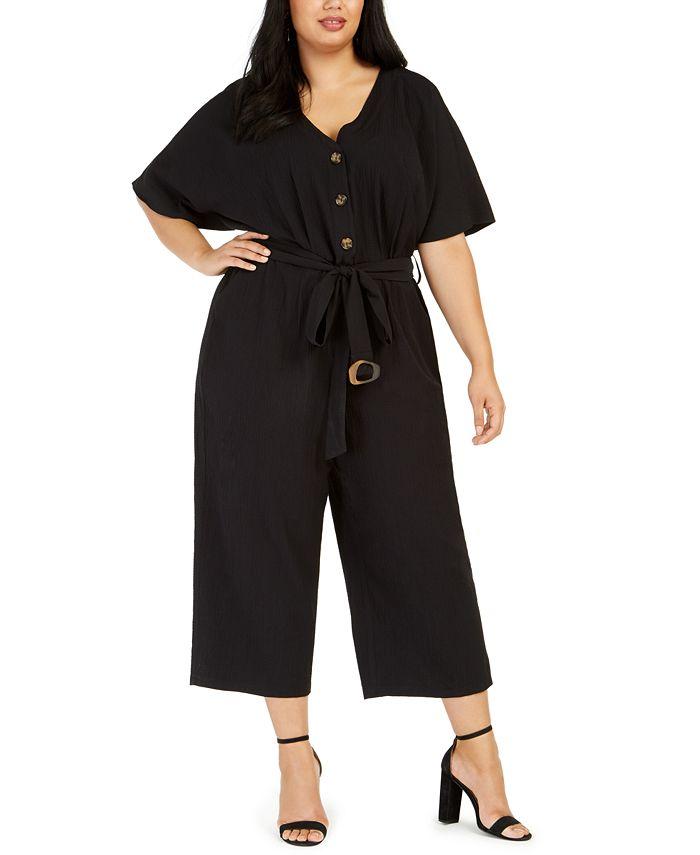 Calvin Klein - Plus Size Belted Gauze Jumpsuit