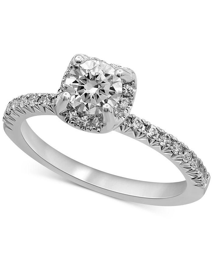 Macy's - Certified Diamond Halo Engagement Ring (1 ct. t.w.) in 14k White Gold