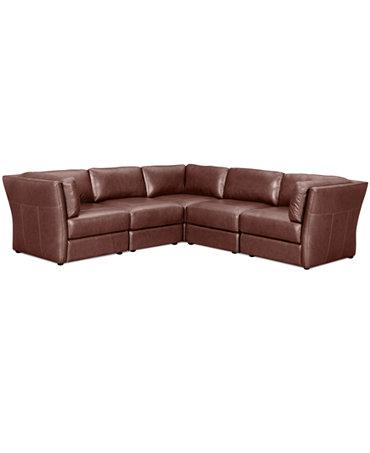Ramiro Leather Modular Sectional Sofa 5 Piece 3 Square