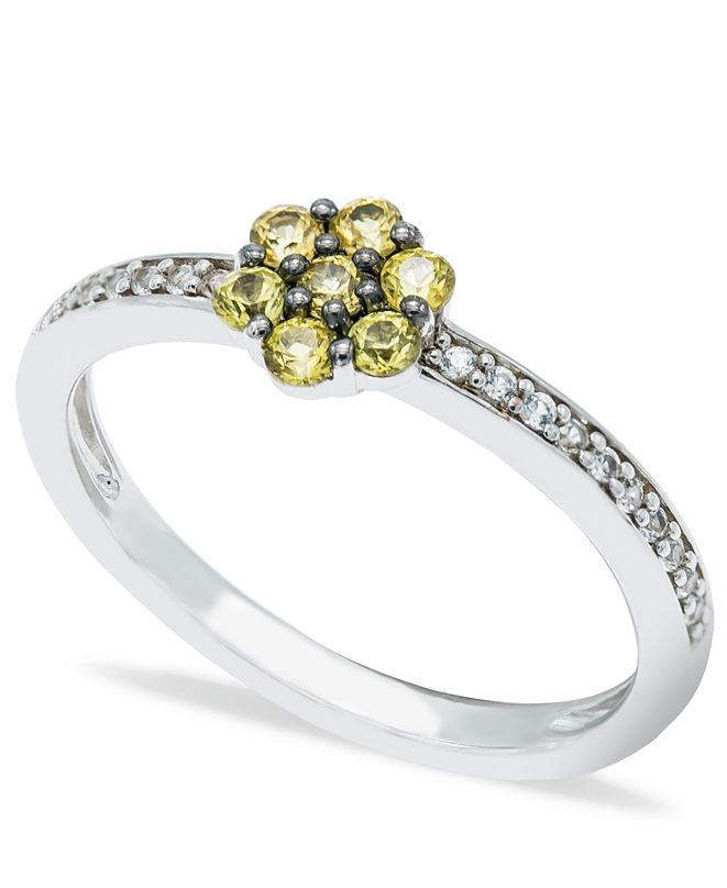 Macy's Yellow Sapphire (1/3 ct. t.w.) Diamond (1/20 ct t.w.)  Stackable ring  in Sterling Silver