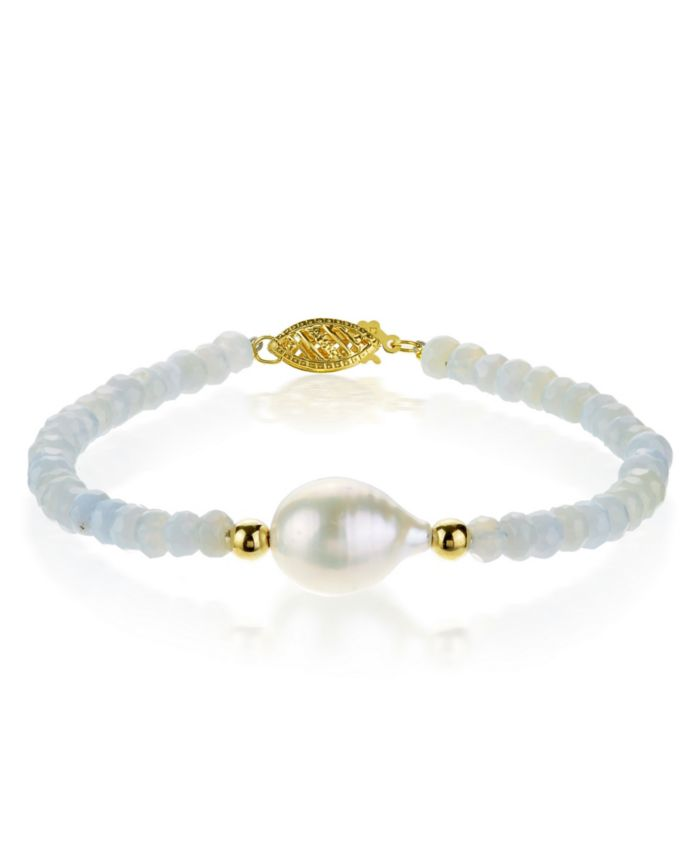 """Macy's Baroque Freshwater Cultured Pearl (10-11mm) with Blue Lace Agate (4-5mm) 7 1/4"""" Bracelet in 14k Yellow Gold & Reviews - Bracelets - Jewelry & Watches - Macy's"""