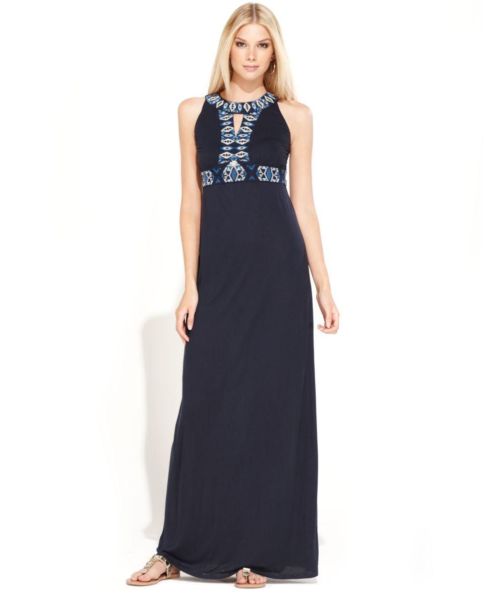 INC International Concepts Dress, Sleeveless Embroidered Maxi