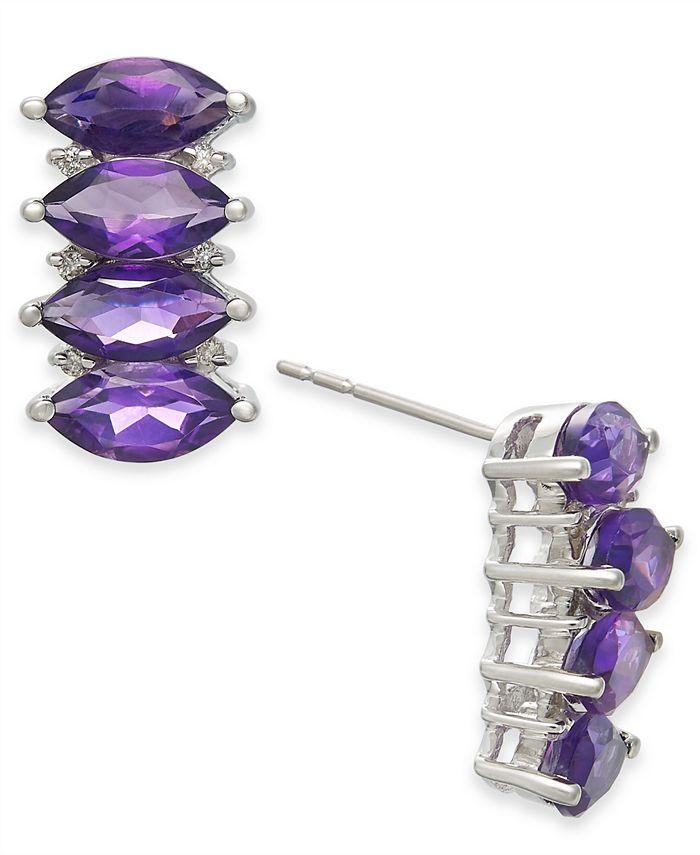 Macy's - Amethyst (4 ct. t.w.) & Diamond (1/10 ct. t.w.) Stud Earrings in 14k White Gold