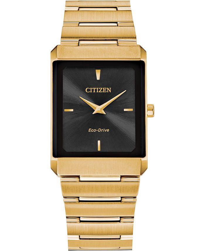 Citizen - Unisex Stiletto Gold-Tone Stainless Steel Bracelet Watch 28x38mm