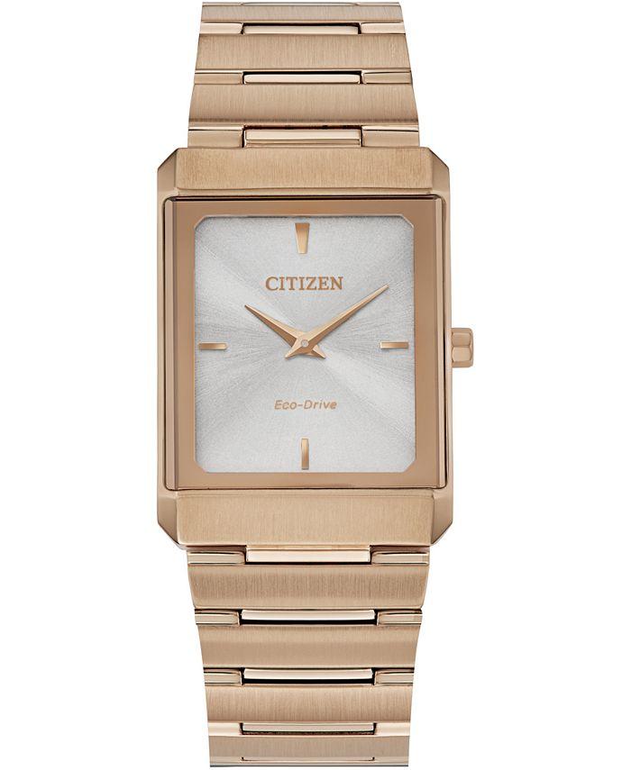 Citizen - Unisex Stiletto Rose Gold-Tone Stainless Steel Bracelet Watch 25x35mm