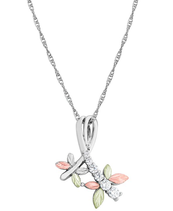 """Black Hills Gold Cubic Zirconia Dragonfly Pendant 18"""" Necklace in Sterling Silver with 12K Rose and Green Gold"""
