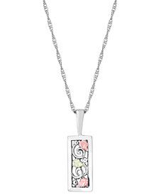 Geometric Pendant Necklace in Sterling Silver with 12K Rose and Green Gold
