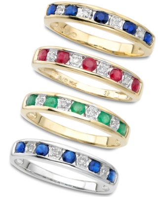 14k Gold Emerald & Diamond Stackable B&