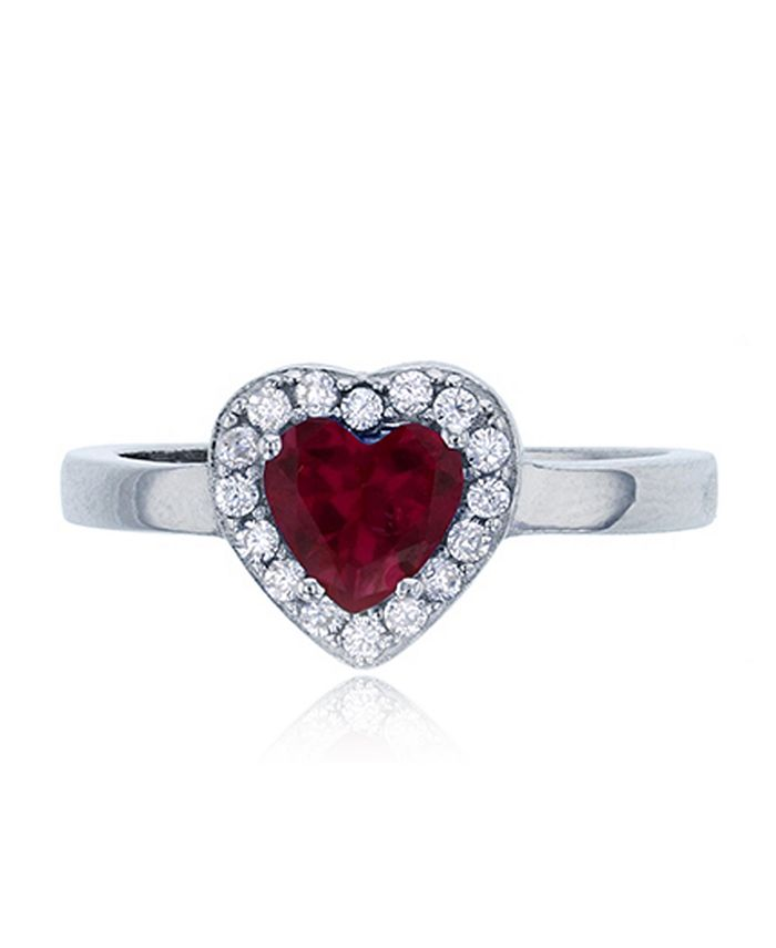 Macy's - Heart Red Cubic Zirconia  White Round Cubic Zirconia Halo Fashion Ring in Rhodium Plated Sterling Silver