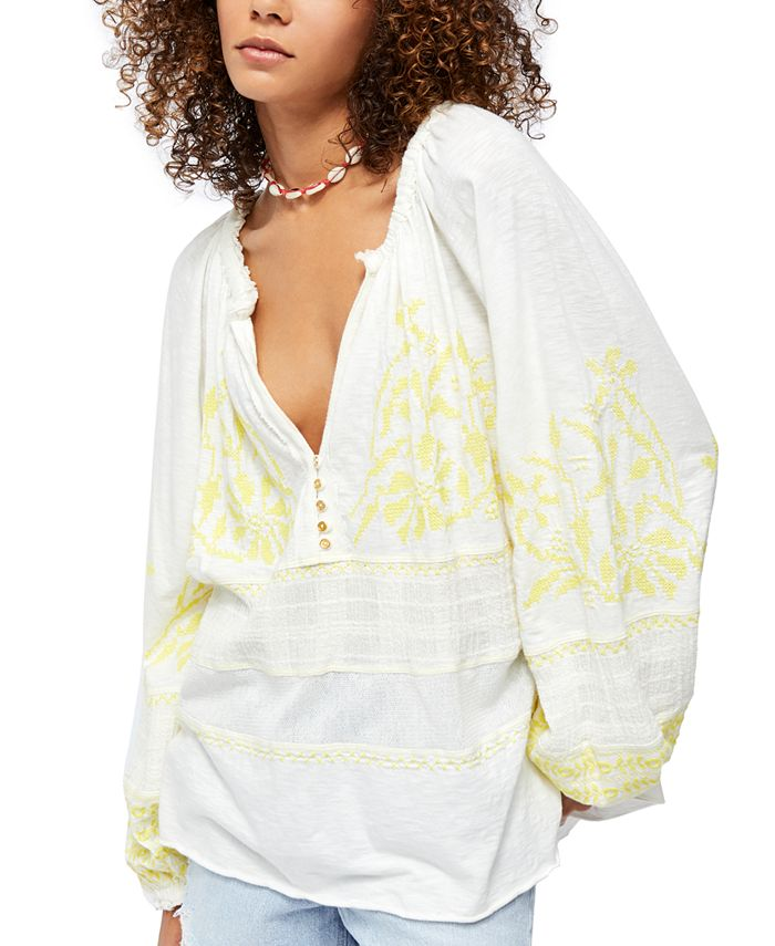 Free People - Persuasion Embroidered Cotton Top