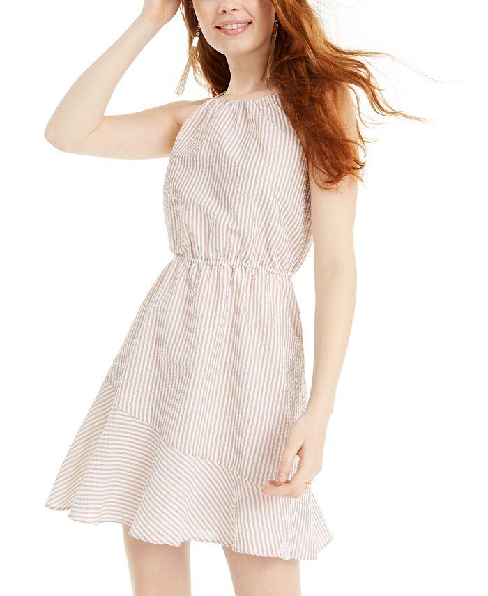 Sequin Hearts - Juniors' Textured-Stripe A-Line Dress