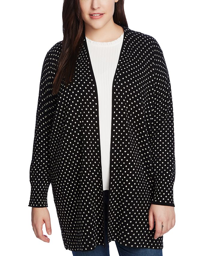 CeCe - Plus Size Polka-Dot Open-Front Cardigan