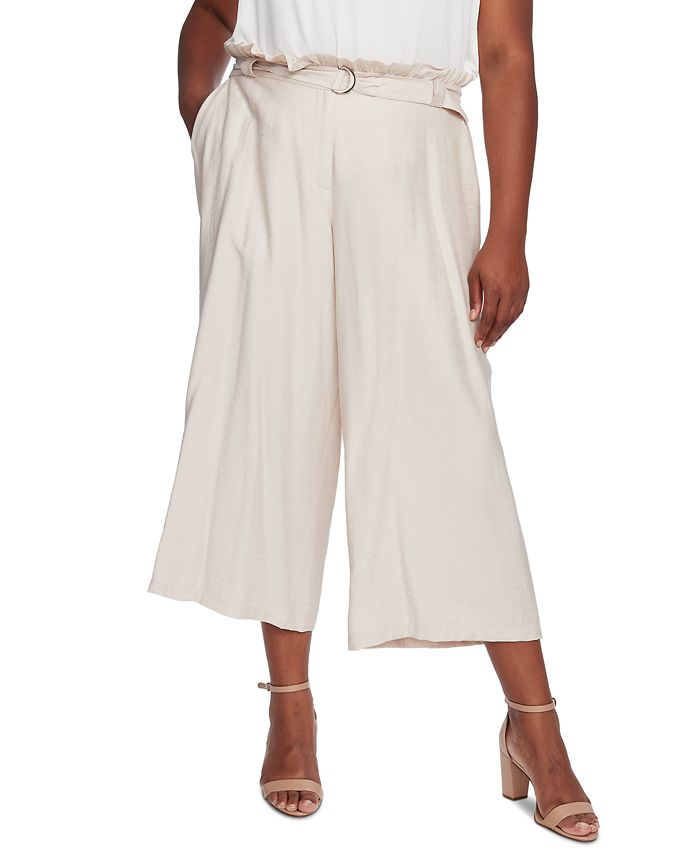 CeCe - Plus Size Belted Cropped Pants
