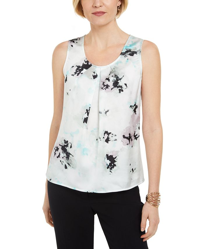 Kasper - Floral-Print Pleated Sleeveless Top