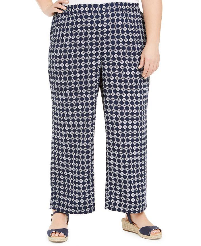 Charter Club - Plus Size Tyler Tile-Print Cropped Pants