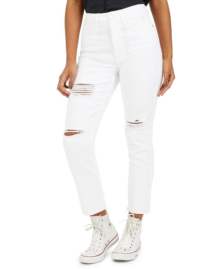 Tinseltown - Juniors' Ripped Cropped Slim-Leg Jeans
