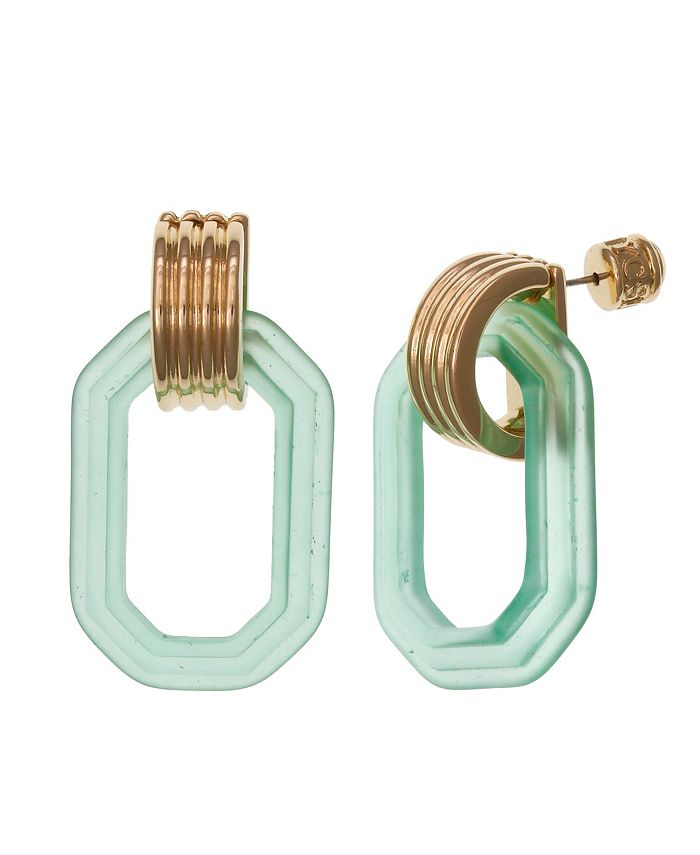 Christian Siriano New York - Gold Tone Pierced Ear with Frosted Teal Square Lucite Drop