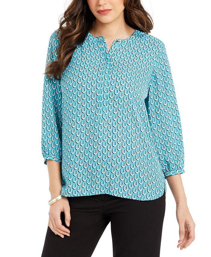 JM Collection - Printed Pleat-Back Top, Created For Macy's