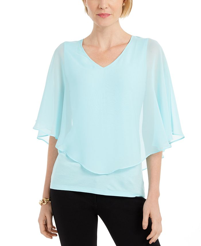 JM Collection - Solid V-Neck Chiffon Overlay Top