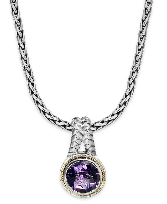 EFFY Collection - Amethyst Round Pendant (3-3/8 ct. t.w.) in 18k Gold and Sterling Silver