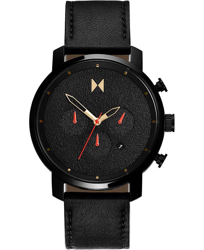 MVMT - Men's Chronograph Caviar Black Leather Strap Watch 45mm